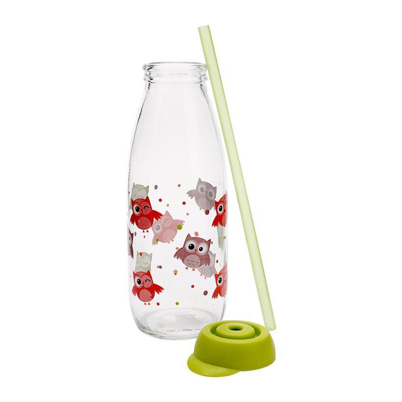 Chai Đựng Sữa Tươi Thủy Tinh Kèm Ống Hút HEREVIN 111714 - 500ml