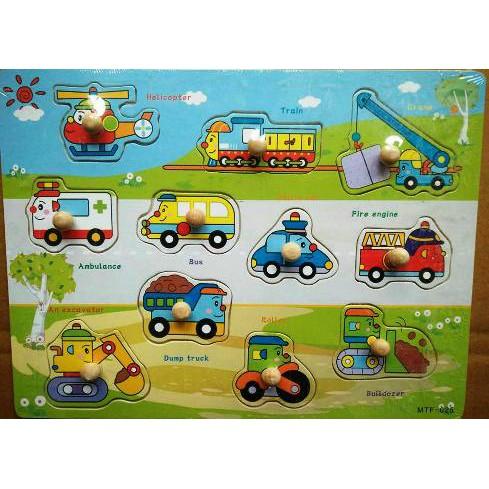 Đồ chơi gỗ Bảng các loại xe núm gỗ BA105 Đồ chơi gỗ cho bé