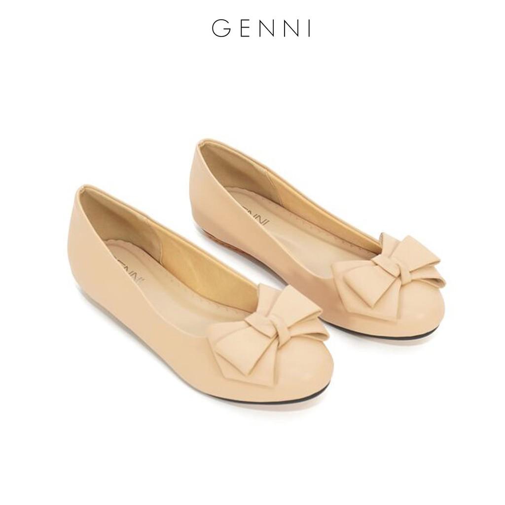 Giày bệt da lì đan nơ GE257 - Genni
