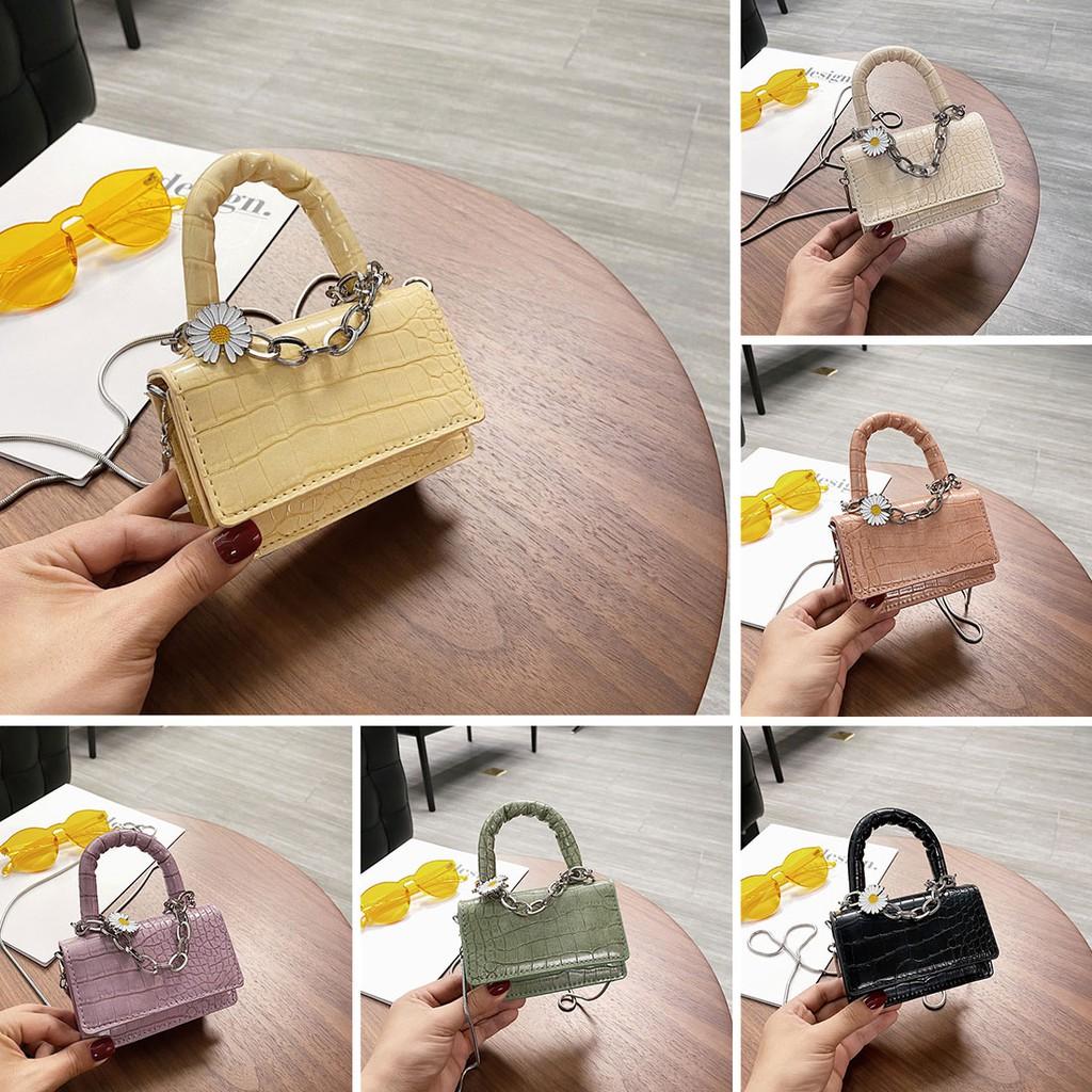 Túi Mini Nhỏ Đeo Chéo Phối Xích Hoa Cúc Xinh P1642
