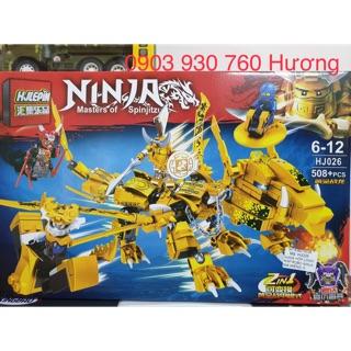 LEGO HJLEPIN lắp ráp ROBO RỒNG SAMURAI 2 IN 1 ( Vàng ) 508 Mảnh