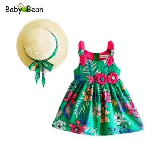 Đầm Lụa Nơ Vai Eo đính Hoa bé gái BabyBean (kèm Nón)