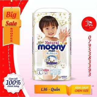 [MẪU MỚI] Bỉm - Tã quần Moony Natural size L - 36 miếng (Cho bé 9 - 14kg)