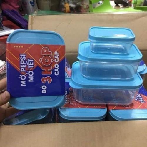 Bộ 3 Hộp Nhựa Đựng Thức Ăn Tiện Lợi Hàng Khuyến Mãi Pepsi