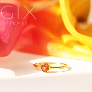 Nhẫn bạc đẹp cho nữ mạ vàng chấu bao một viên đá cam Gix Jewel SPGN29 thumbnail