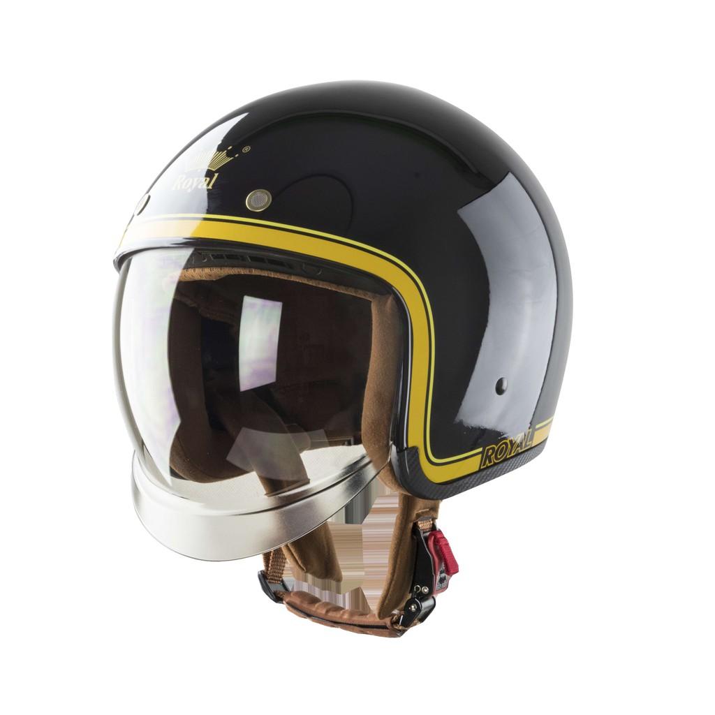 Mũ bảo hiểm 3/4 Royal kính âm M139 tem V10 đen chỉ vàng