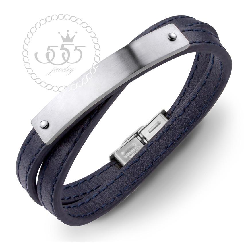 sale 555jewelry สร้อยข้อมือสายหนัง ดีไซน์เท่ ตัวล็อคสแตนเลส รุ่น MNC-BR379 - สร้อยข้อมือผู้ชาย สร้อยข้อมือสแตนเลส[BR25]a