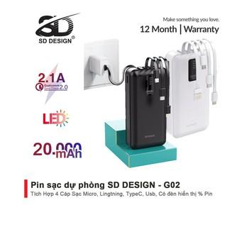 Sạc dự phòng chính hãng SD DESIGN G02 dung lượng 20.000 mAh với đầy đủ chân sạc cho iphone, thumbnail