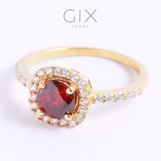 Nhẫn bạc đẹp cho nữ đính đá Cz đỏ cao cấp tphcm Gix Jewel SPGN14 thumbnail