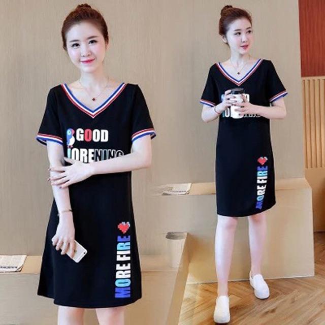 Đầm big size thun cổ tim in chữ 2XL 80-90kg