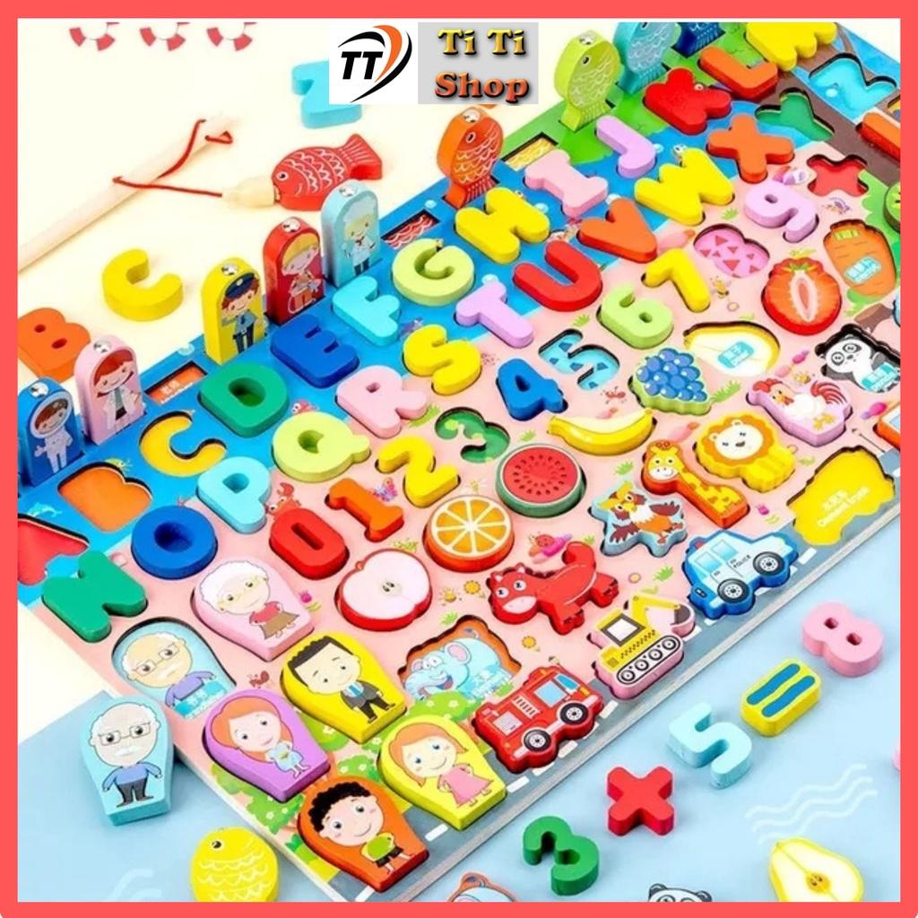 Bộ đồ chơi gỗ cao cấp 6 in1 ghép chữ, học số, câu cá kích thích trí thông minh của trẻ 134 chi tiết, phát triển tư duy