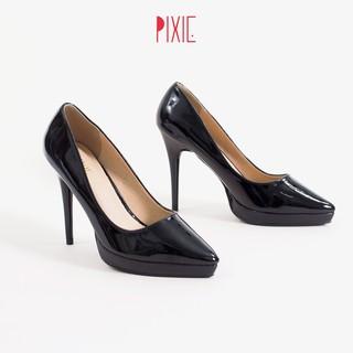 Giày Cao Gót 9cm Đế Đúp Da Bóng Mũi Nhọn Pixie P672