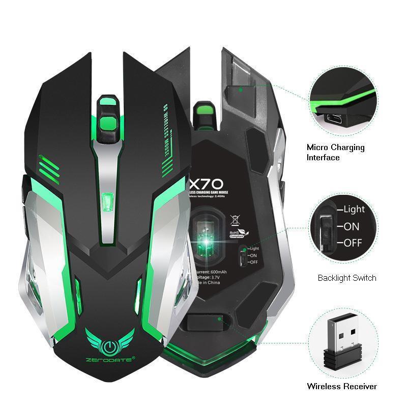 Chuột LED Không Dây 2.4GHZ Gaming ZERODATE X70