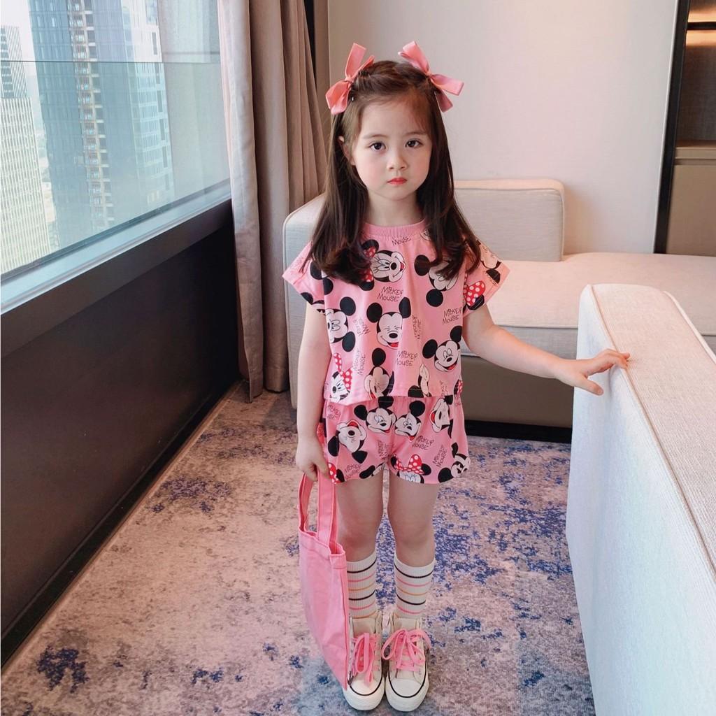 Bộ cotton cho bé gái, sét đồ phông thun trẻ em họa tiết MicKey SEKA KIDS - 2103.14