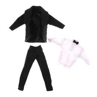 1 set Formal Suit Black Bowtie Wedding Groom Clothes Tuxedo For Barbie Ken Doll