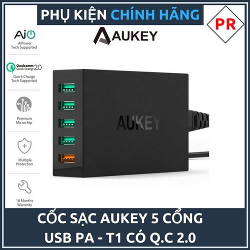 Cốc sạc nhanh Aukey PA-T1 Quick Charge 2.0 - 5 cổng sạc USB (Đen) kèm cáp sạc Micro USB