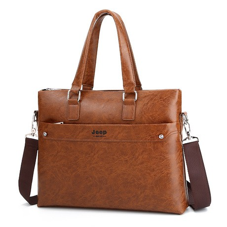 Túi xách cặp da đựng laptop công sở JEEP BULUO T05-2 39x29x8cm (nâu đậm-nâu sáng-đen)