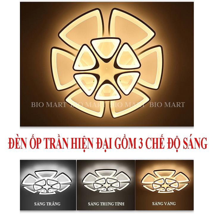 Đèn Ốp Trần Trang Trí – Đèn Âm Trần Trang Trí Phòng Khách, Gồm 3 Chế Độ Ánh Sáng, Có Điều Khiển Từ Xa Tiện Dụng – BIO132