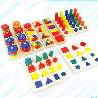 Set 8 món đồ chơi gỗ hình học cho trẻ 3 tuổi trở lên