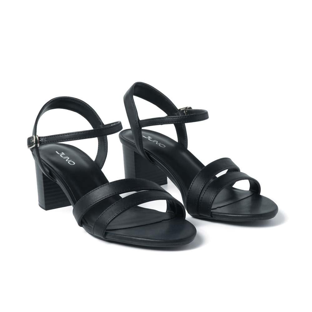 Juno - Giày sandal gót vuông quai mặt bất đối xứng SD