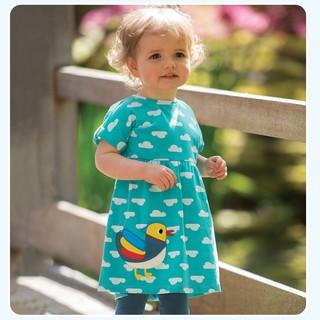 Mã S0906 váy đầm mây xanh thêu đắp nổi hình vịt con xinh đẹp của Little maven cho bé gái