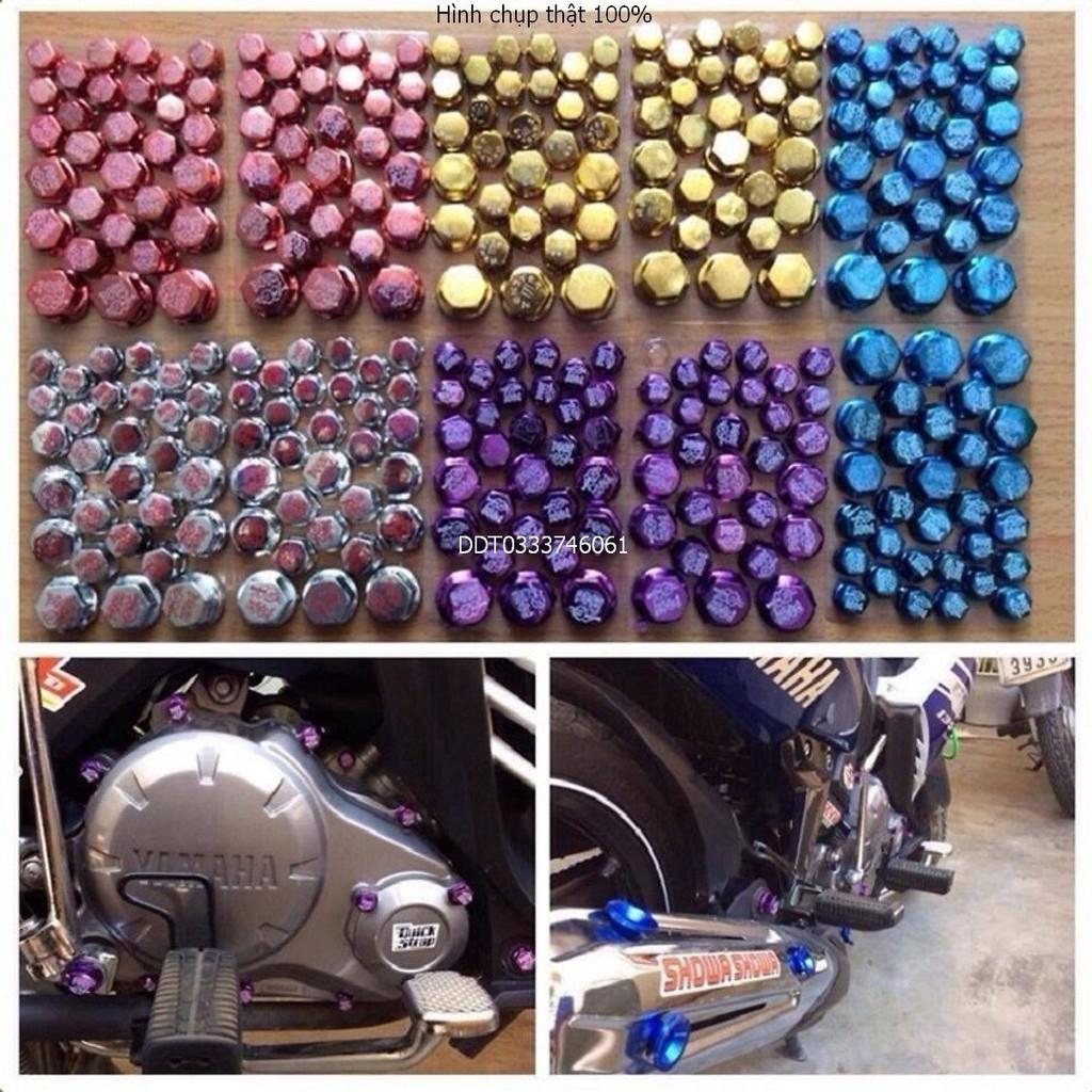 Chụp ốc xi nhiều màu bộ từ 25 đến 30 con trang trí xe máy siêu đẹp