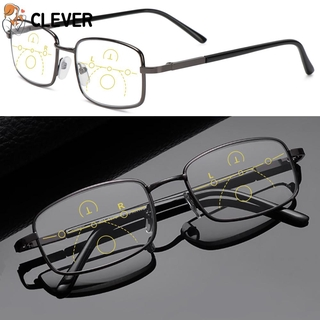 CLEVER Anti-fatigue Anti Blue Light Reading Glasses Anti-UV Multifocal Bifocal Eyewear Progressive Presbyopic Eyeglasses Men Women Fashion Anti-blue Rays Retro Classic Radiation Protection Computer Goggles/Multicolor