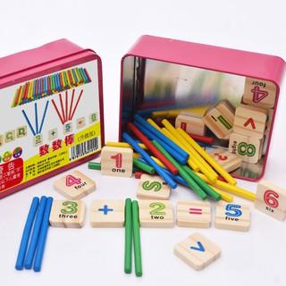 Đồ chơi bảng chữ cái gỗ và que tính học toán cho bé