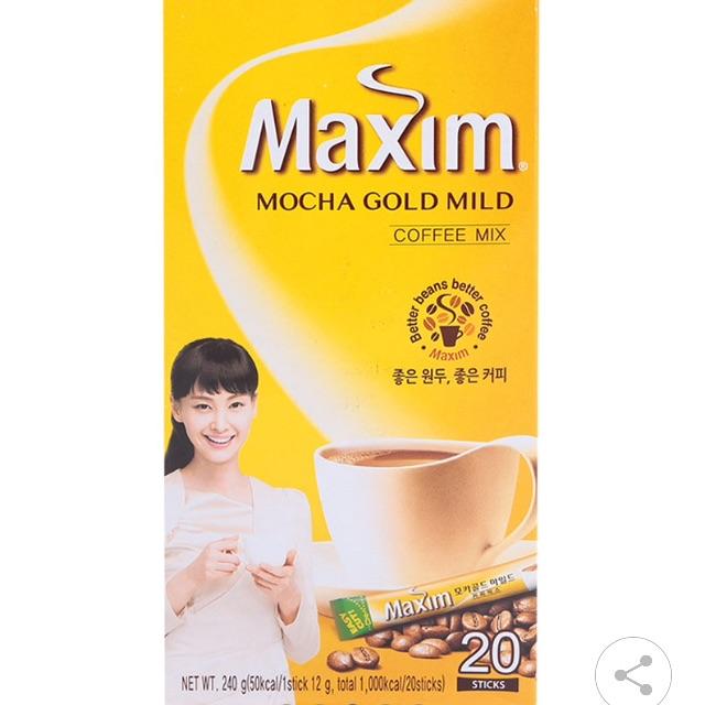 Café Hòa Tan Maxim Vị Mocha Hộp 12G x 20 Gói