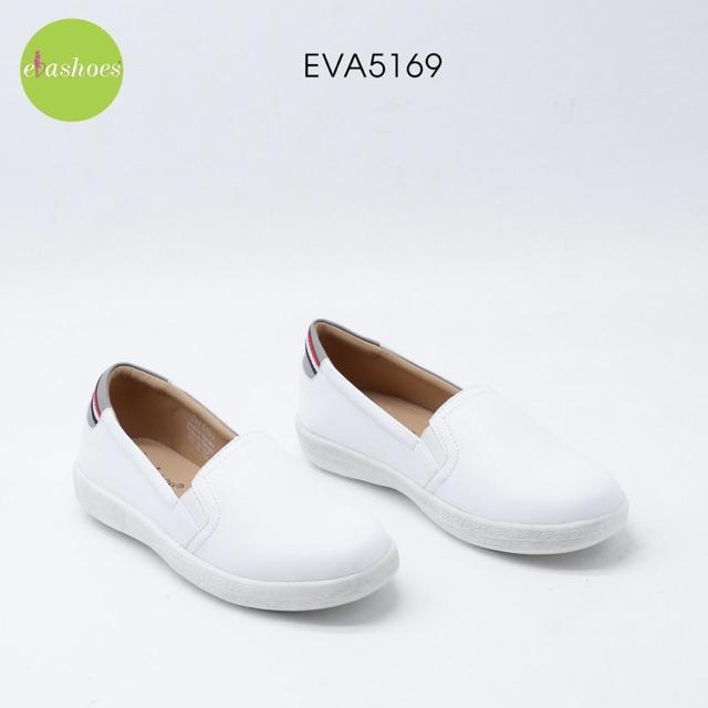 Giày Slipon Mũi Tròn Gót Viền Sọc Ngang Da Tổng Hợp 1cm Evashoes - Eva5169