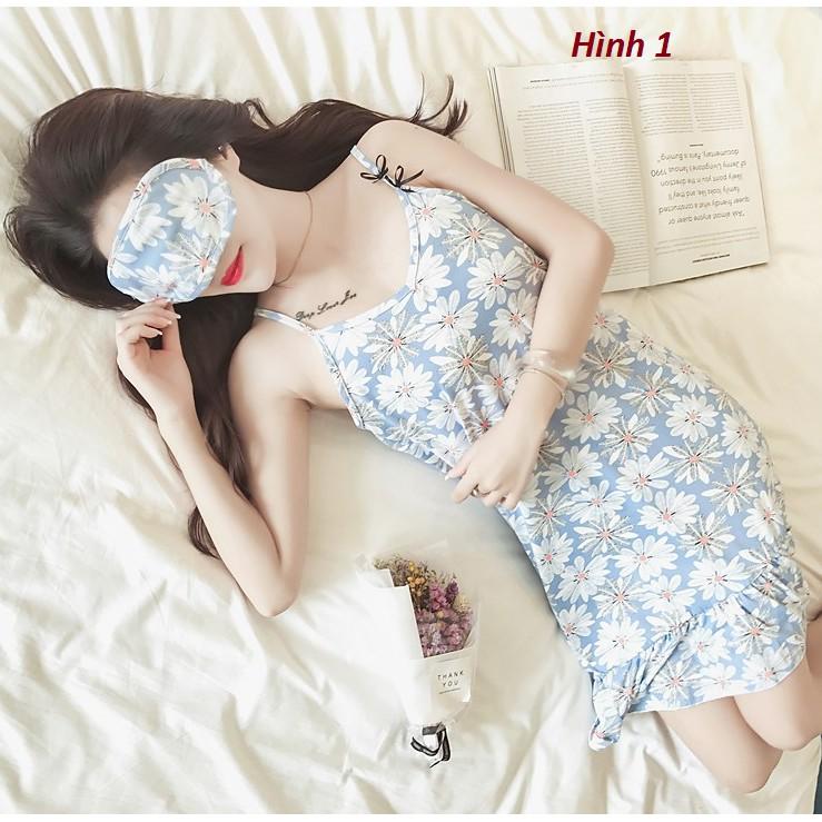 VÁY NGỦ 2 DÂY SEXY cotton SIÊU QUYẾN RŨ ,Váy ngủ 2 dây chất lụa siêu dễ thương - Tặng kèm bịt mắt