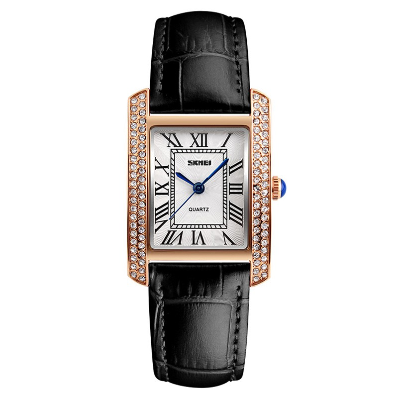 Đồng hồ nữ SKMEI mặt vuông viền đá dây da vân trúc cao cấp size 30mm kính chống xước, chống nước tuyệt đối 1281