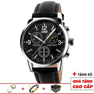 Đồng hồ nam SKMEI chính hãng cao cấp dây da chống xước chống nước tuyệt đối mặt tròn 38mm giả 3 kim  9070