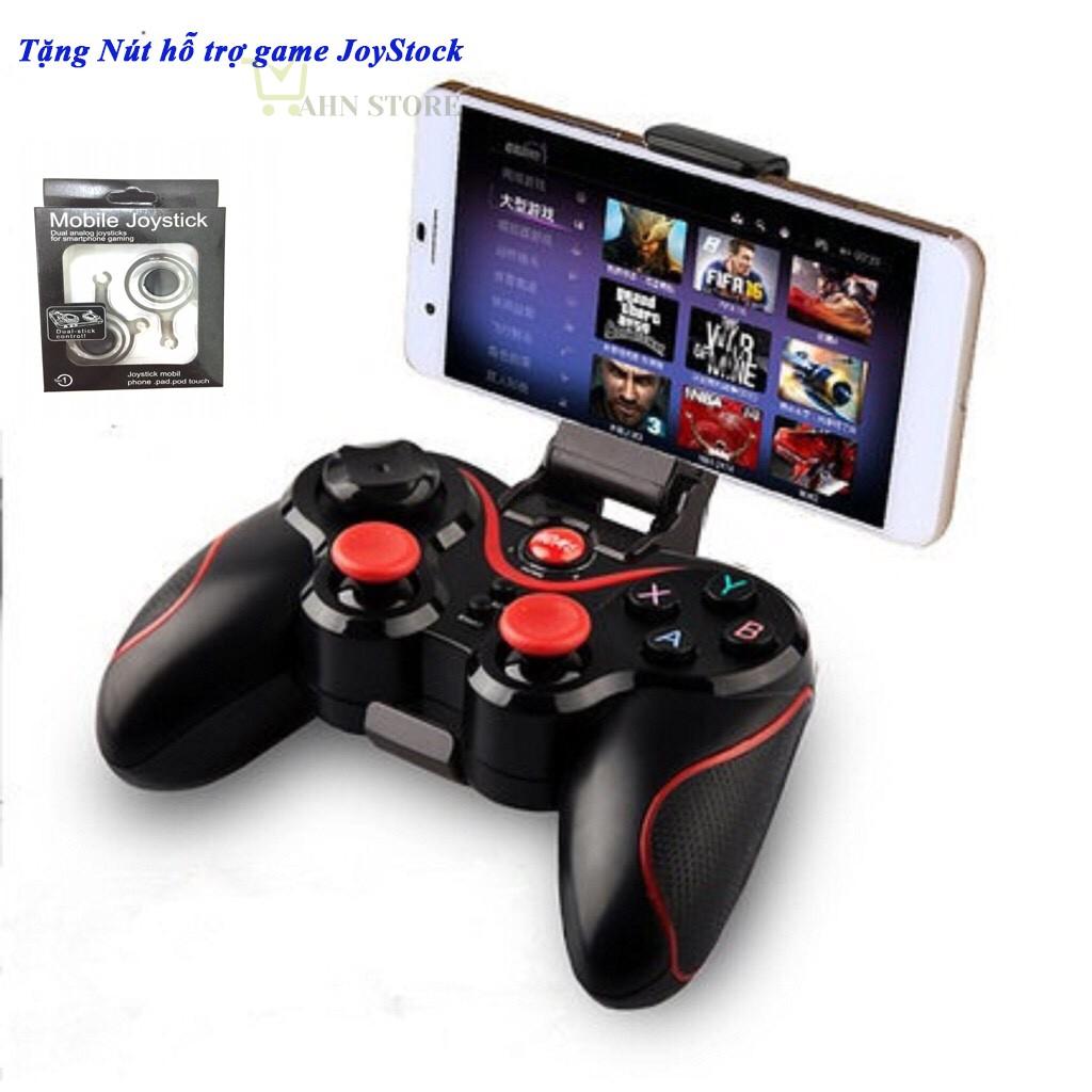 Tay cầm chơi game Bluetooth T3 + Gía đỡ điện thoại + Tặng nút điều khiển game JoyStock