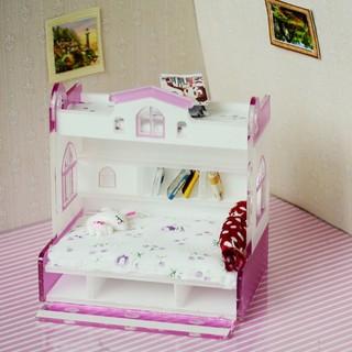 [Shiwaki Shopee]1/12 Dollhouse Miniature Furniture Bunk Bed Double Bunk Bedroom Accessory #2