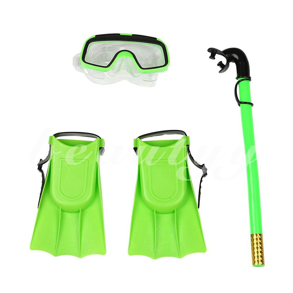 Snorkeling Set Snorkel Mask Goggles Flippers Scuba Swimming Diving Kids Training
