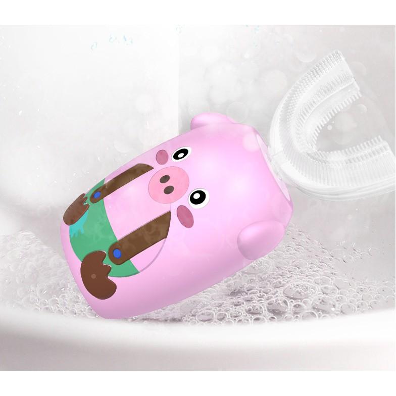 Bàn chải đánh răng tự động hình chữ U (HEO HỒNG và TÊ GIÁC) - chải sạch 360 độ - phù hợp cho bé 2-10 tuổi