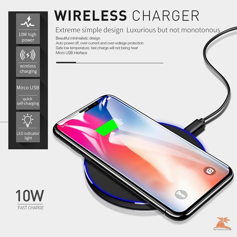 Đế Sạc Nhanh Không Dây Qi 9v 10w Cho Iphone Samsung