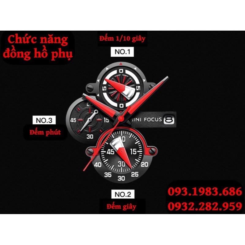 Đồng Hồ Thể Thao Nam MINI FOCUS MF0244G.04 Dây Silicone Đen Chống Nước 6 Kim Cao Cấp - TIGO