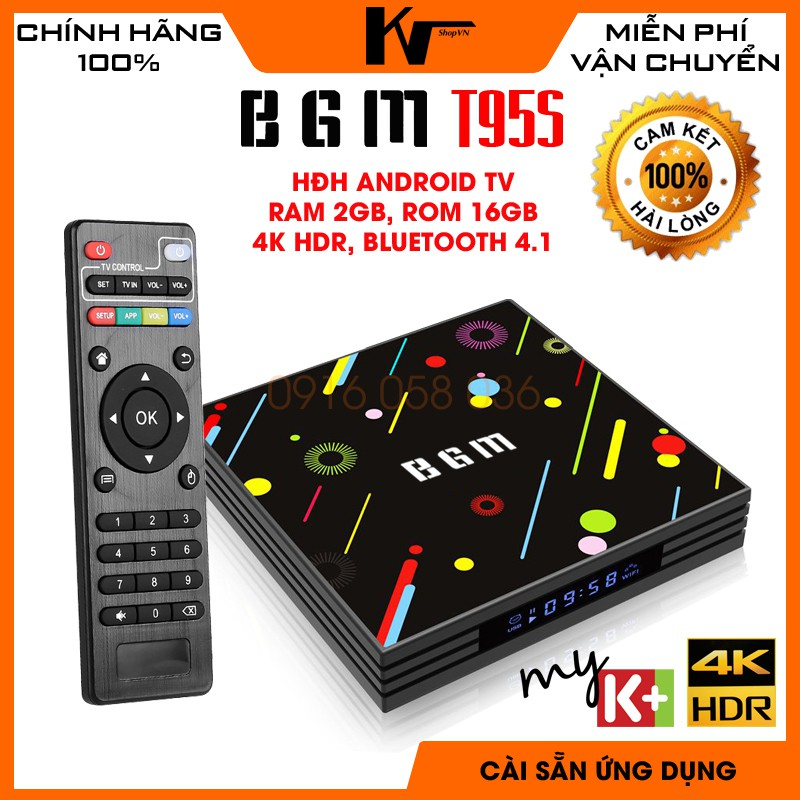 Android TV Box BGM T95S, Chip S905W, Ram 2GB - Bộ nhớ 16GB, Rom ATV, Bluetooth 4.1