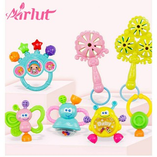 7 Pcs Baby Handbell set Rattle Ring Newborn Early Educational Toys Gifts