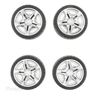 4pcs 1: 10 Drift Car Racing Car 5 Spoke Black Wheel Rims & Rubber Tires 48mm