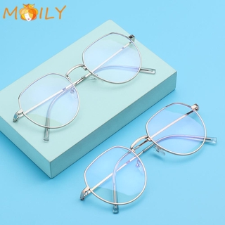 MOILY Fashion Anti-Blue Light Eyeglasses Vintage Eye Protection Metal Glasses Portable Women Men Computer Polygon Ultra Light Frame/Multicolor