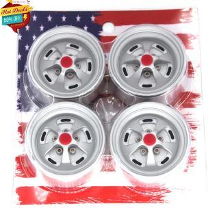 4Pcs Wheels Matte Silver 1.9 Beadlock Rims for 1/10 RC Crawler Axial SCX10 II 90046 Traxxas TRX4 D90
