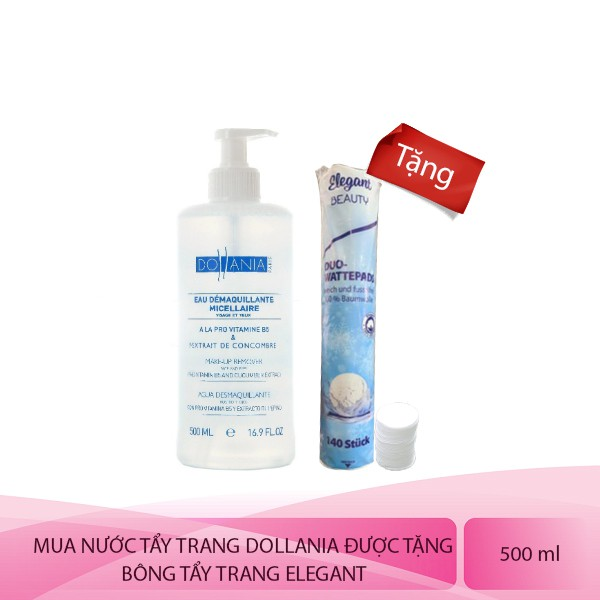Nước tẩy trang Micellaire Vitamin B5 & Tinh chất dưa leo Dollania 500ml( tặng kèm bông tẩy trang)