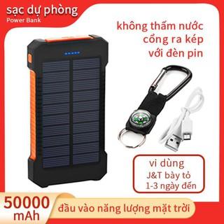Sạc dự phòng sử dụng năng lượng mặt trời 30000mah 2 cổng USB thiết kế không thấm nước đèn pin