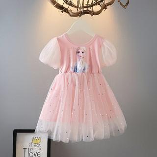 Váy cho bé gái Váy Elsa Đầm Công Chúa Elsa ngắn tay đáng yêu cho bé