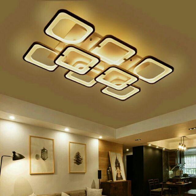 Đèn led áp trần trang trí 6+2 cánh vuông hiện đại 3 chế độ ánh sáng có điều khiển từ xa