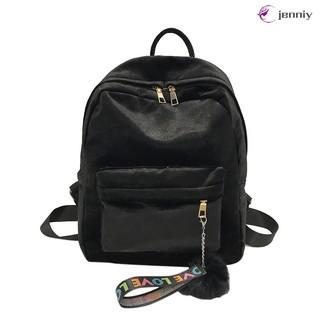 ✨JNY✨ Women Velvet Backpack Pleuche Casual Zipper Traveling Shopping Bag for Teenage School Girls