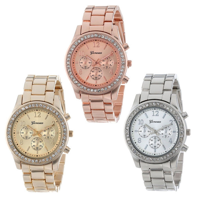 Three-eye Diamond-studded Alloy Watch Women's Steel Belt Cas